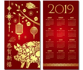 Chinese style 2019 calendar red template vector 04