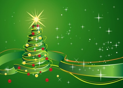 Christmas Background with star and green ribbon vector