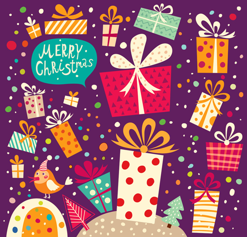 Christmas Gifts cards 3 shiny vector