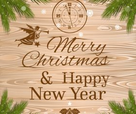 Christmas Greeting Card with clock and branches of wooden background vector 02
