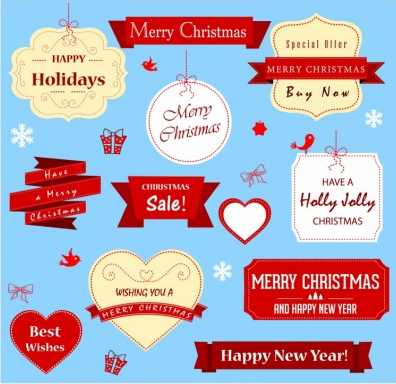Christmas Labels vectors material
