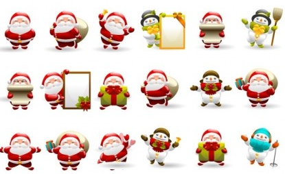 Christmas SantIcon Set design vectors