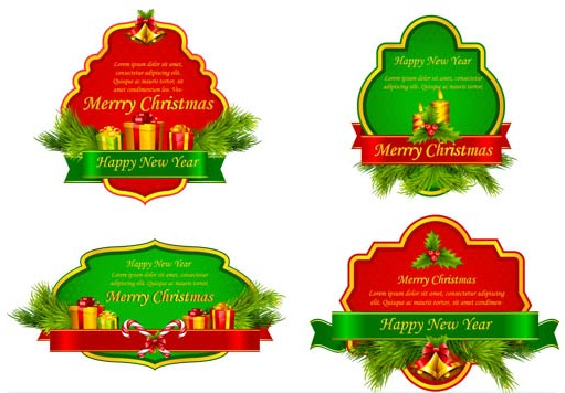 Christmas Shiny Labels vector