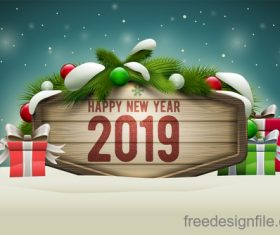 Christmas Sign Board with winter background vector