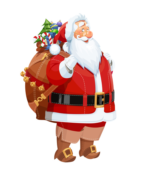 Christmas bag of gift with santa claus vector