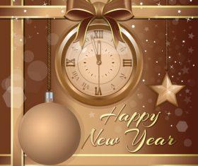 Christmas ball and vintage wall clock vector