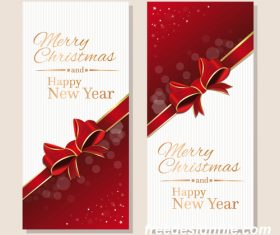 Christmas banner with gold lettering and red ribbon vector material 01