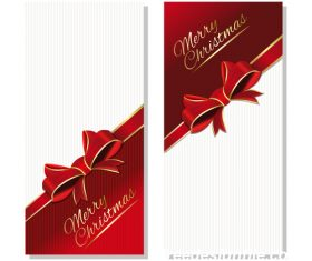 Christmas banner with gold lettering and red ribbon vector material 02