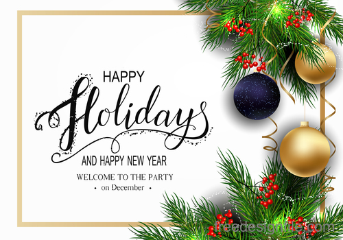 Christmas baubles wiht fir and new year background vector 02