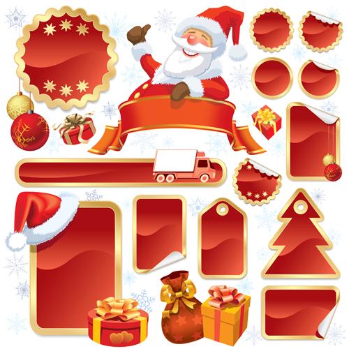 Christmas blank tags 2 vector graphics