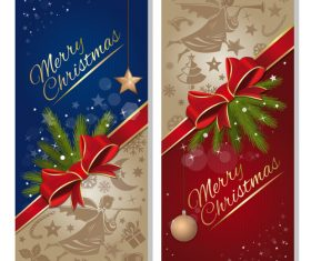 Christmas blue with red banner vectors material 01