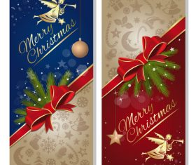 Christmas blue with red banner vectors material 02