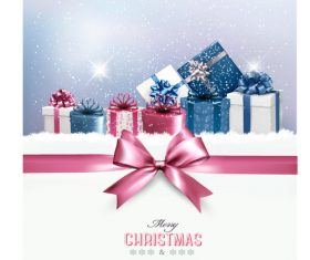 Christmas card with festvial gift boxs vector