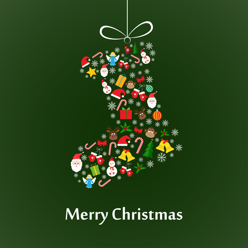 Christmas cate baubles with green background vector
