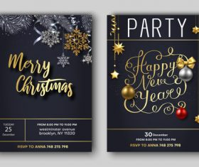 Christmas december 25 party flyer with poster template vector 01