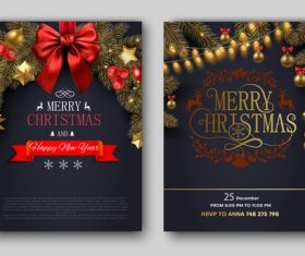 Christmas december 25 party flyer with poster template vector 02