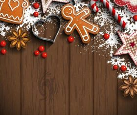 Christmas decorative baubles and wooden wall background vector