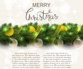 Christmas fir branch with xmas balls vector
