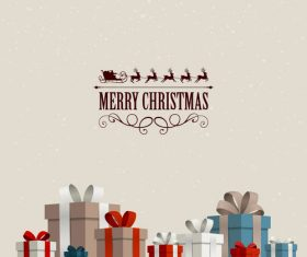 Christmas gift card and gray background vectors 01