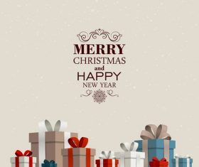 Christmas gift card and gray background vectors 02