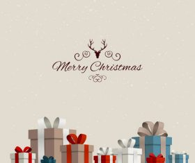 Christmas gift card and gray background vectors 03