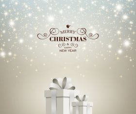 Christmas gift card template shining stars vectors 02