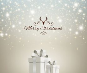 Christmas gift card template shining stars vectors 03