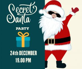 Christmas party flyer with santa vectors