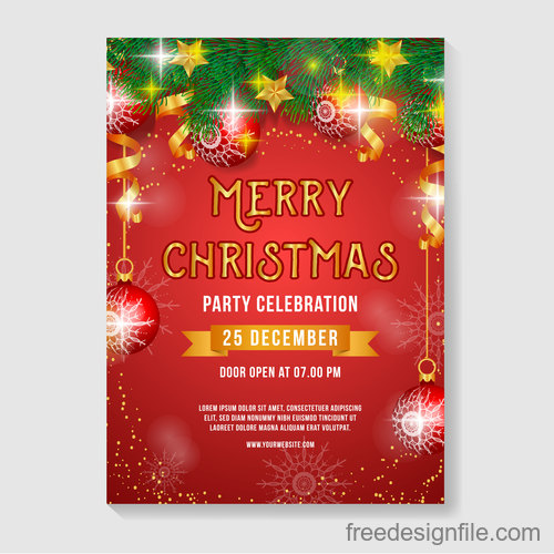 Christmas Party Flyer Template.Christmas Party Poster Or Flyer Template Vector 01 Free Download