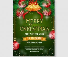 Christmas party poster or flyer template vector 05