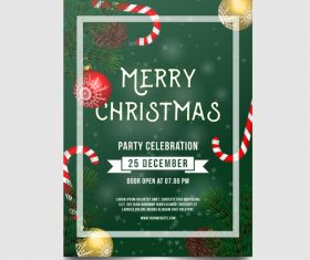 Christmas party poster or flyer template vector 06