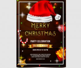 Christmas party poster or flyer template vector 07