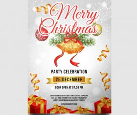 Christmas party poster or flyer template vector 08