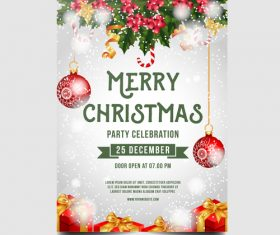 Christmas party poster or flyer template vector 09