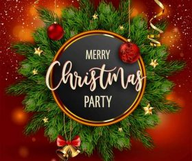 Christmas party template with red xmas ball vector