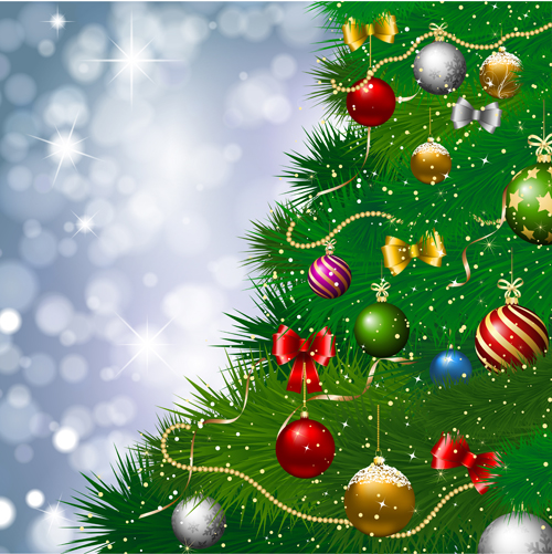 Christmas pinaster and baubles background vector graphics