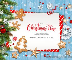 Christmas postercard with wood wall background vector