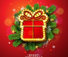 Christmas shiny card with new year design vector