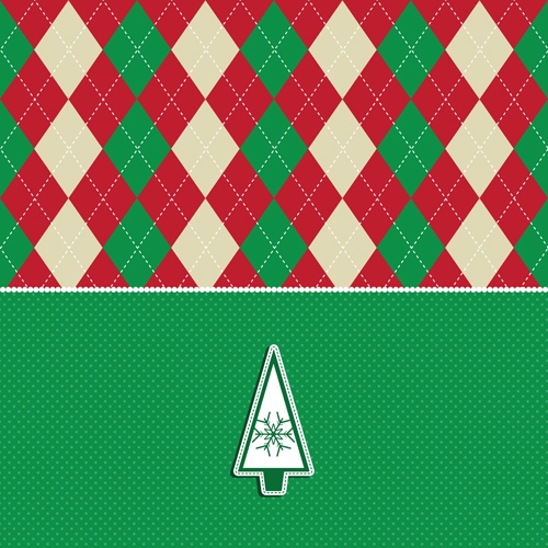 Christmas tree and argyle pattern background vector
