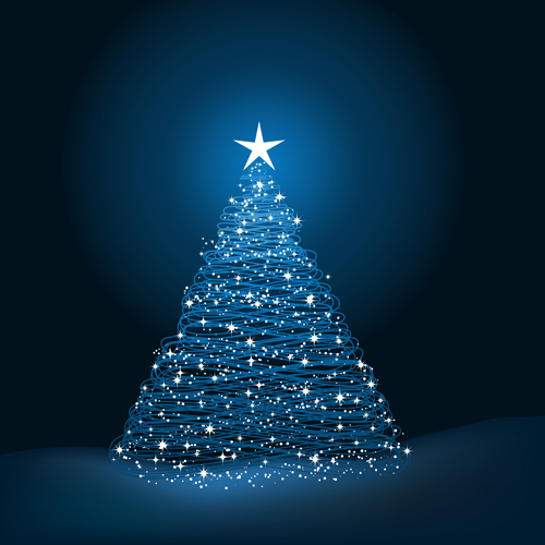 Christmas tree blue background vector