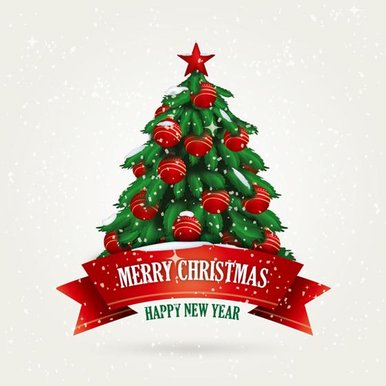 Christmas tree ribbon vector material