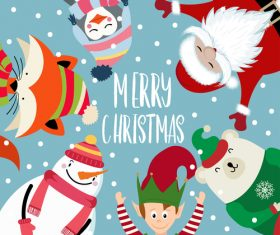 Christmas winter greeting card vector material 01