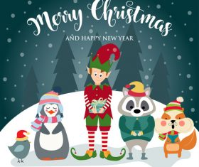Christmas winter greeting card vector material 02