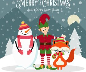 Christmas winter greeting card vector material 03