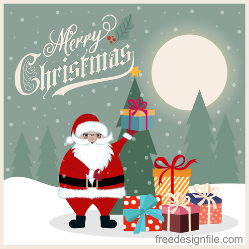 8e3f533751de9 Christmas winter greeting card vector material 05 free download