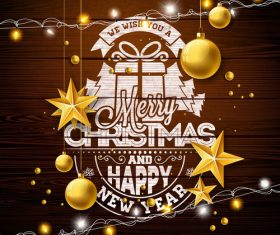 Christmas with new year wood wall background with golden baubles vector