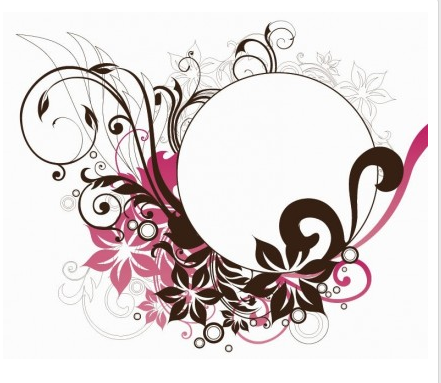 Circle Frame with Floral Decorations vector material