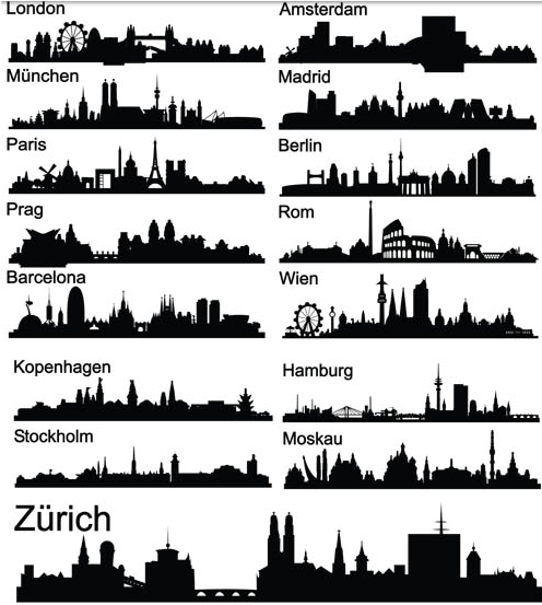 City Silhouettes vectors material
