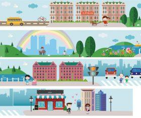 City building street culture flat vector