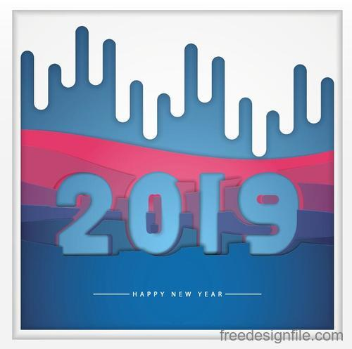 City style 2019 new year background vector